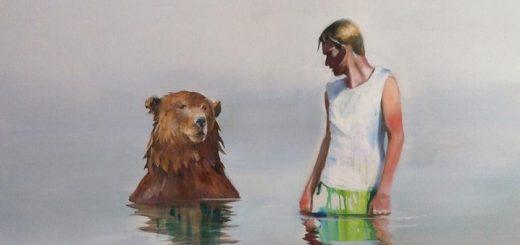 Magi. Kvinde og bjørn. Maleri af Elin Engelsen