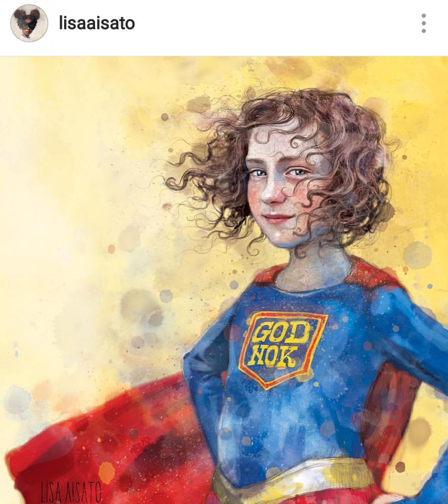 Superhelt - pige - med 'God nok' skrevet på brystet. Taknemmelig for Illustrator: Lisa Aisato