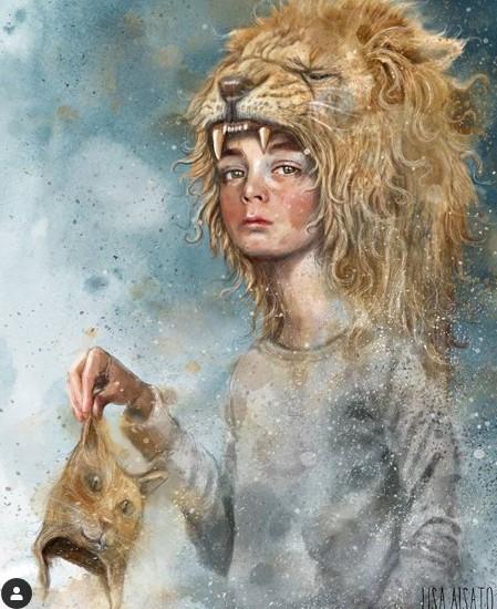 Tegning af barn, der har afført sig sin gamle killingemaske og nu er ved at gro en voldsom løve ditto Taknemmelig for Illustrator: Lisa Aisato
