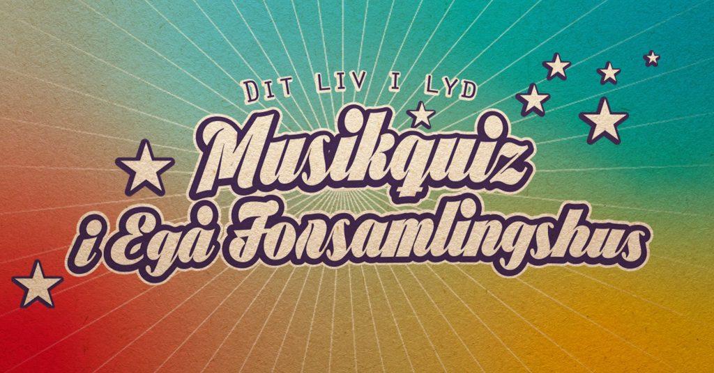Musikquiz i Egå Forsamlingshus. Quizmaster. Grafik ved Gitte Thrane / Hunky-Dory.dk