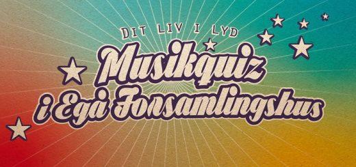 Musikquiz i Egå Forsamlingshus. Quizmaster. Grafik Gitte Thrane Hunky-Dory.dk
