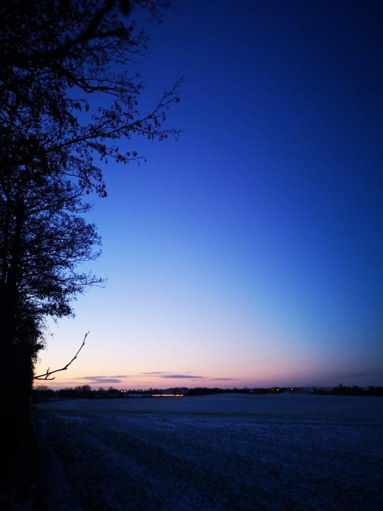 Vinterskumring over marken