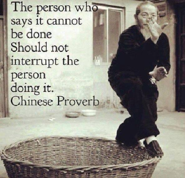 Komfortzonen: The person who says it cannot be done, should not interrup the person doing it.